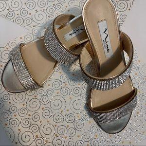 Nina NY Dressy Crystals Rose Gold Sandals Size 7